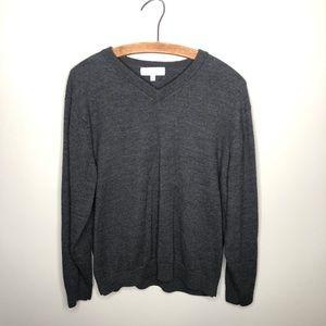 Turnbury Merino Wool Gray V-Neck Sweater Pullover